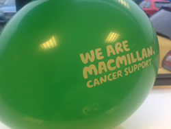 Macmillan Cancer Support balloon which was used to decorate Pakawaste's 2016 Coffee Morning.